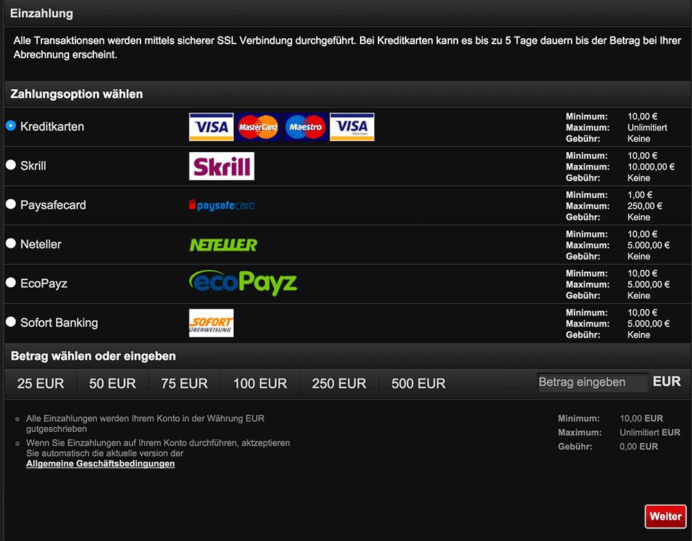 Einzahlungsoptionen