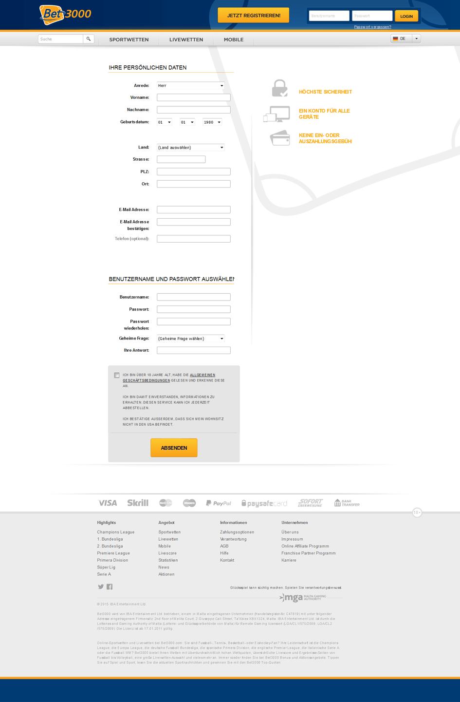 Registrierung bei Bet3000